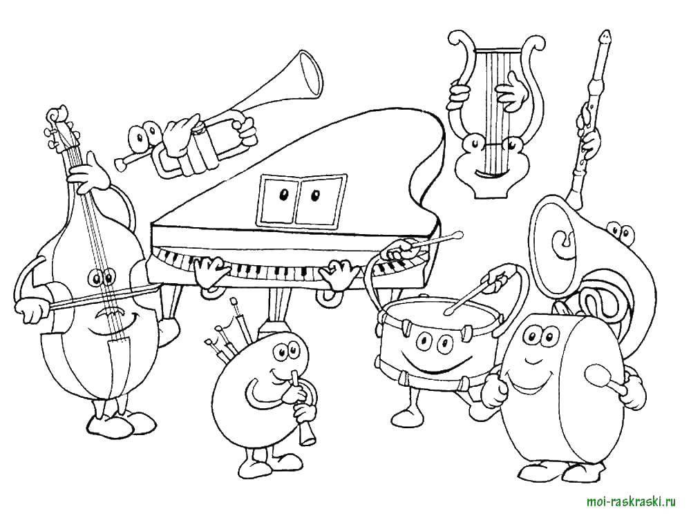 Раскраска Музыкальные инструменты Скачать музыкальные инструменты.  Распечатать ,простые раскраски,