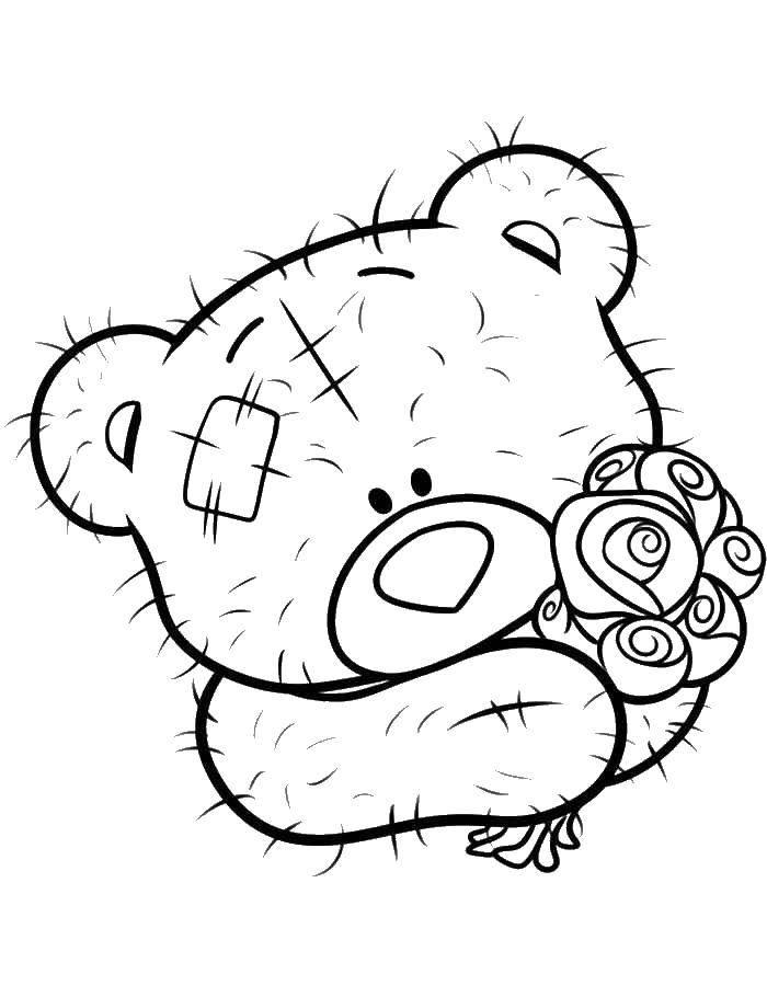 Раскраска Мишка тедди с цветочками Скачать Мишка Тедди.  Распечатать ,мишки тедди,