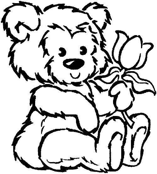 Раскраска Плюшевый медведь. Скачать Игрушка, медведь.  Распечатать ,мишки с цветами,