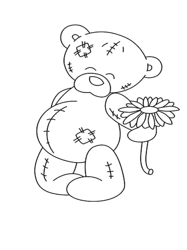 Название: Раскраска Мишка тедди с цветочком. Категория: мишки тедди. Теги: Мишка Тедди.