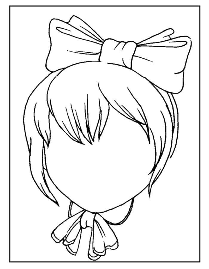 Раскраска Дорисуй лицо девочке Скачать Образец, обвести по контуру.  Распечатать ,дорисуй по образцу,