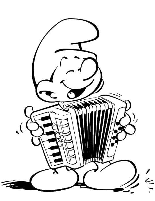 Раскраска Смурфик играет на баяне Скачать Персонаж из мультфильма, Смурфики, веселье.  Распечатать ,Смурфики,