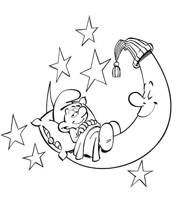 Раскраска Смурфик на полумесяце Скачать Персонаж из мультфильма, Смурфики, веселье.  Распечатать ,Смурфики,
