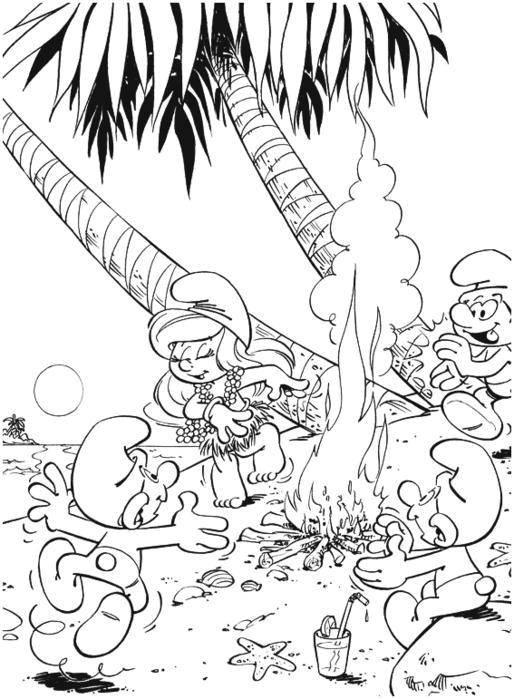 Раскраска Смурфики на острвое Скачать Персонаж из мультфильма, Смурфики, веселье.  Распечатать ,Смурфики,