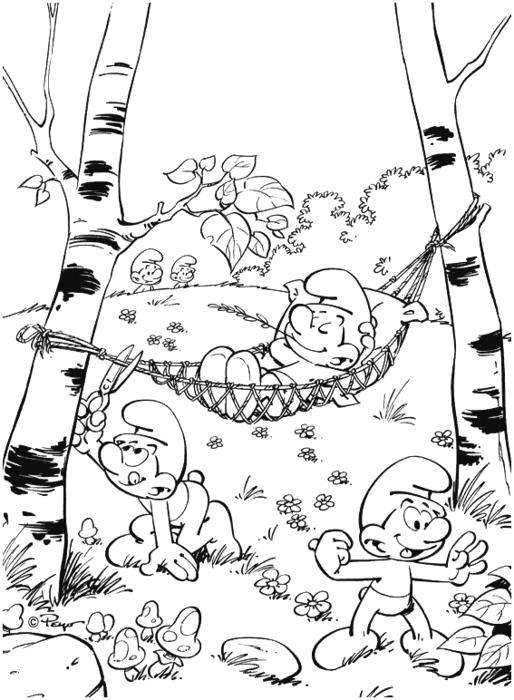 Раскраска Смурфики отдыхают Скачать Персонаж из мультфильма, Смурфики, веселье.  Распечатать ,Смурфики,