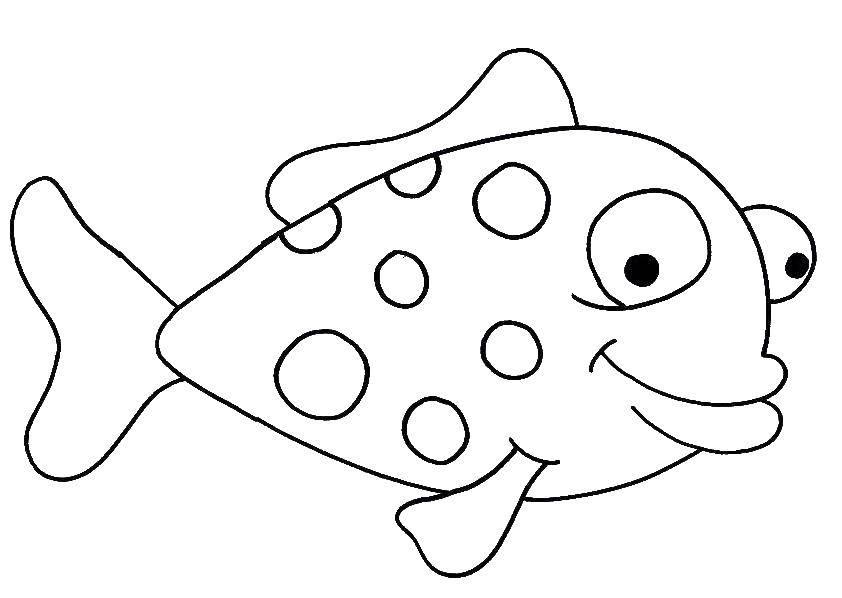 Раскраска Рыбка в крапинку Скачать Подводный мир, рыба.  Распечатать ,рыбы,
