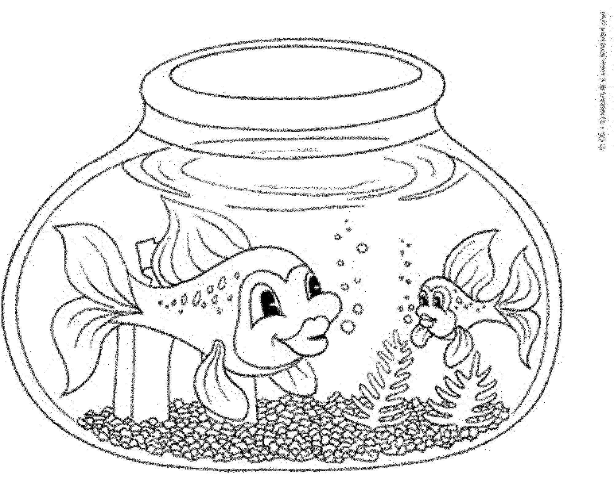 Раскраска Рыбки в аквариуме Скачать Подводный мир, рыба.  Распечатать ,рыбы,