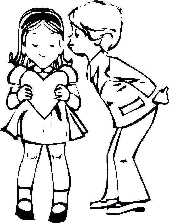Название: Раскраска Влюбленные с сердечком. Категория: день святого валентина. Теги: День Святого Валентина, любовь, сердце.