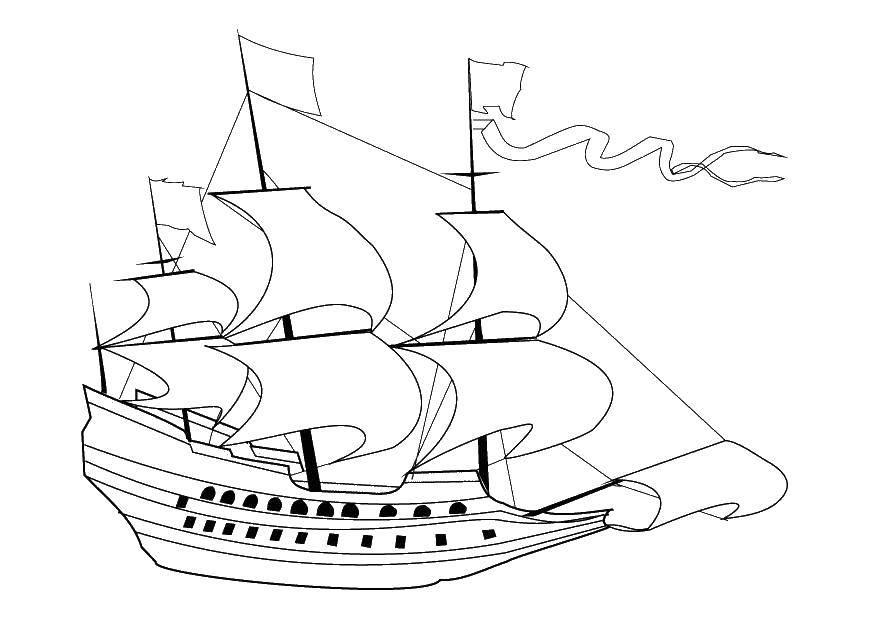 Раскраска корабли Скачать кошка, кот.  Распечатать ,домашние животные,