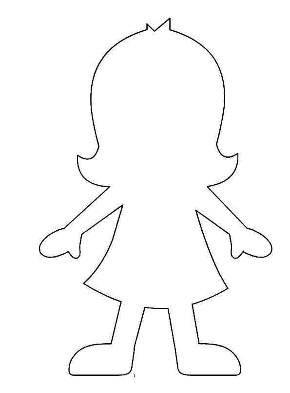 Раскраска Девочка Скачать кукла.  Распечатать ,Контур куклы,