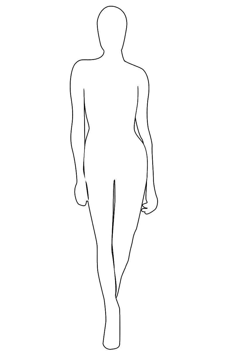 Раскраска Контур человека для вырезания Скачать человек.  Распечатать ,Контур куклы,
