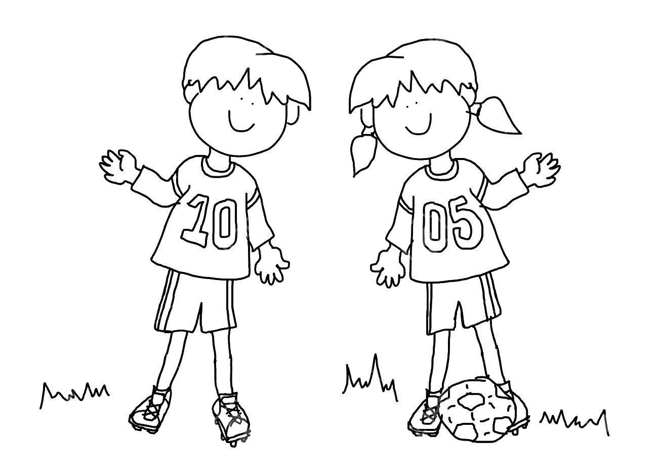 Раскраска Мальчик и девочка играют в футбол Скачать Мальчик, девочка.  Распечатать ,Контур людей,