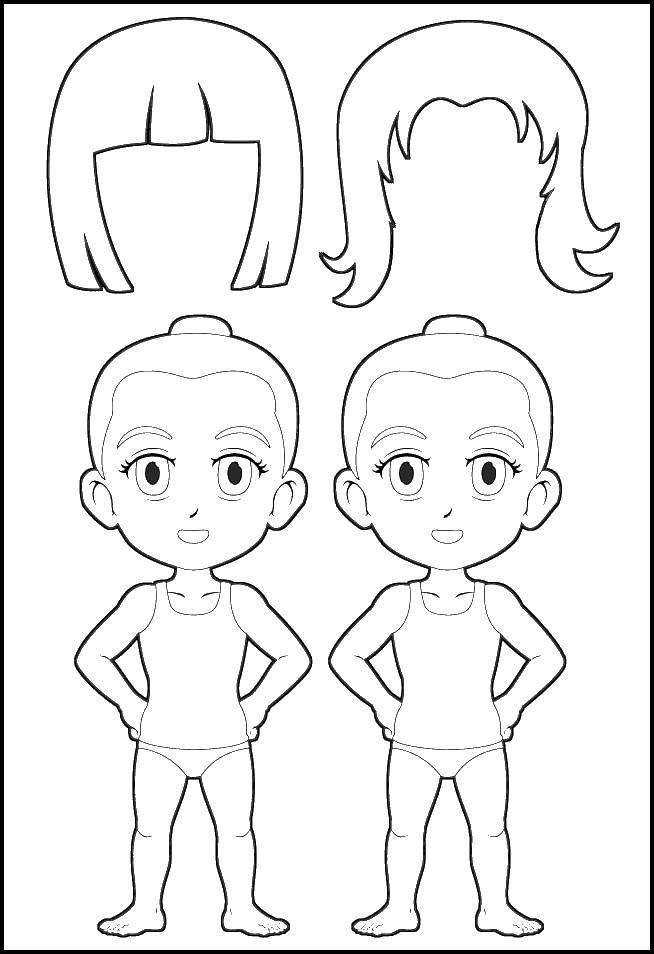 Раскраска Прическа для куклы Скачать прическа, куклы.  Распечатать ,Контур куклы,