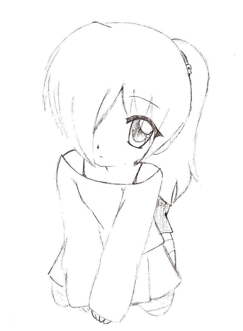 Раскраска Девушка Скачать аниме, девушка.  Распечатать ,аниме,