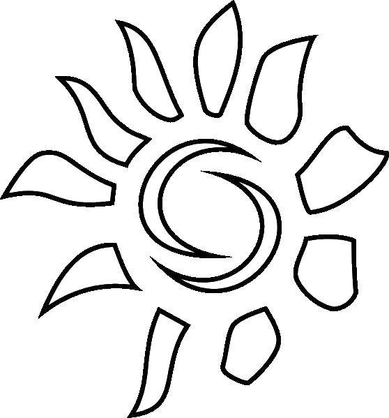 Раскраска Контур солнца Скачать ,коробка, подарок,.  Распечатать
