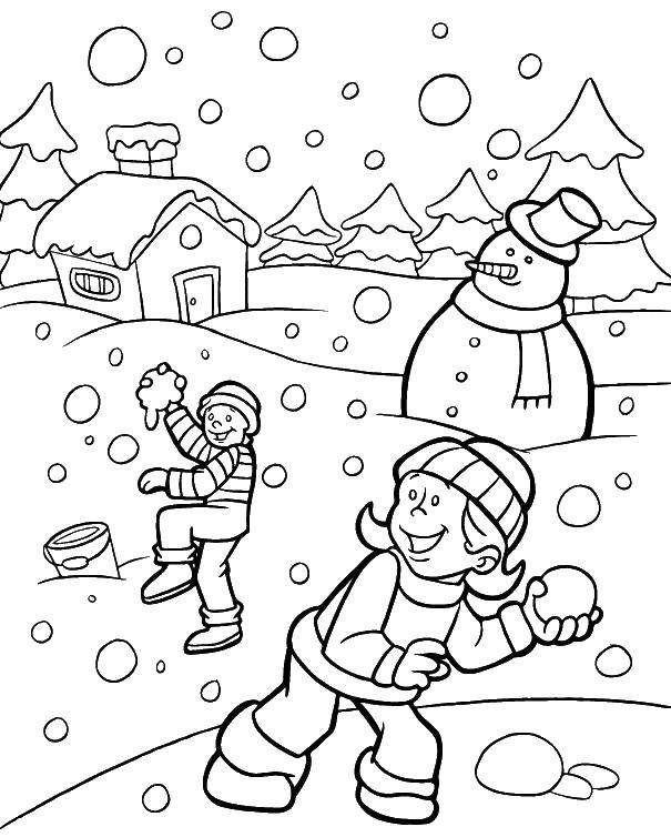 Раскраска Дети играют в снежки Скачать снег, дети.  Распечатать ,раскраски зима,