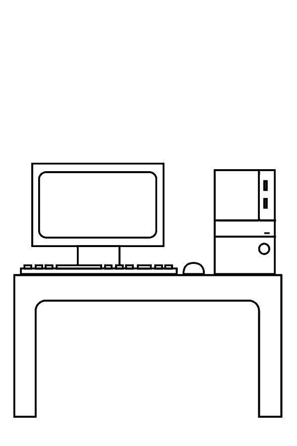 Раскраска Компьютер и системный блок Скачать Техника, компьютер.  Распечатать ,Техника,