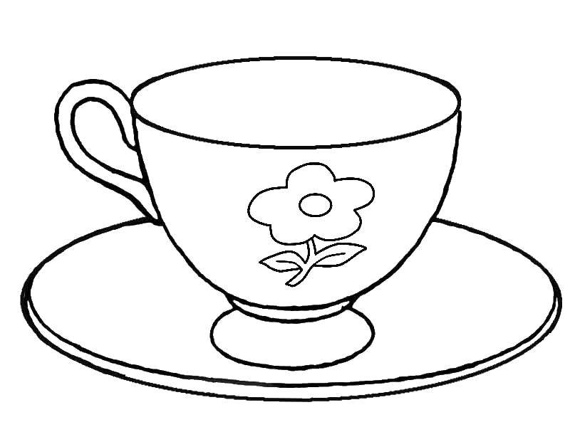 Раскраска Чашка с блюдцем Скачать чашка, блюдце.  Распечатать ,посуда,