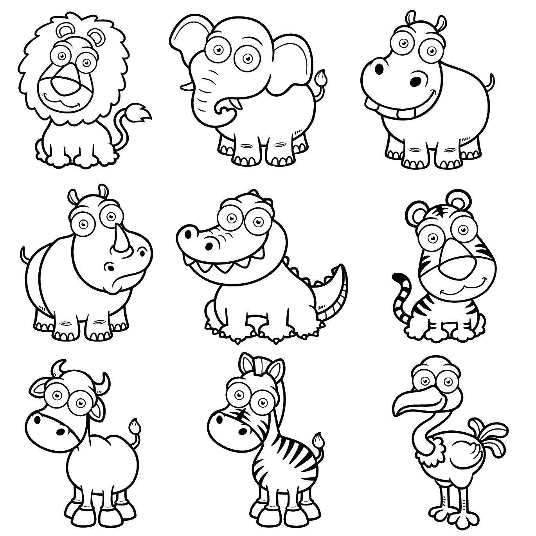 Раскраска Слоненок, львенок, крокодил, носорог, бегемотик, тигренок, коровка, зебра и страус Скачать Зоопарк, животные.  Распечатать ,Зоопарк,