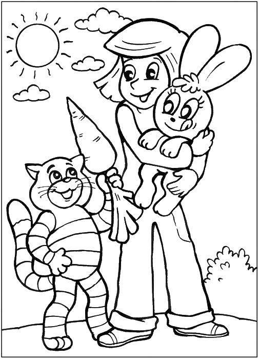 Раскраска Кот матроскин и дядя федор кормят зайчика морковкой. Скачать кот Матроскин, пес Шарик, Дядя Федор.  Распечатать ,раскраски простоквашино,