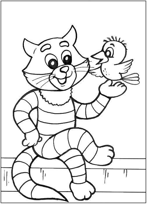 Раскраска Кот матроскин и галчонок. Скачать кот Матроскин.  Распечатать ,раскраски простоквашино,