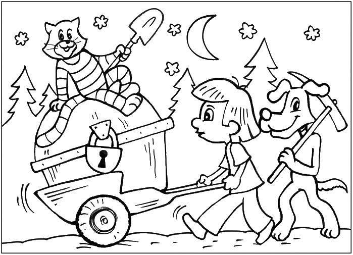 Раскраска Кот матроскин , пес шарик и дядя федор нашли клад. Скачать кот Матроскин , пес Шарик, дядя Федор.  Распечатать ,раскраски простоквашино,