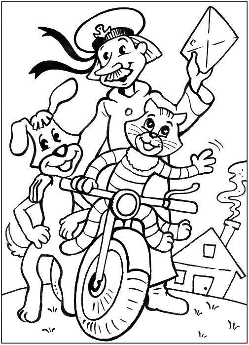 Раскраска Кот матроскин, пес шарик и почтальон печкин на велосипеде. Скачать кот Матроскин, пес Шарик, Дядя Федор, мама, папа, почтальон печкин.  Распечатать ,раскраски простоквашино,