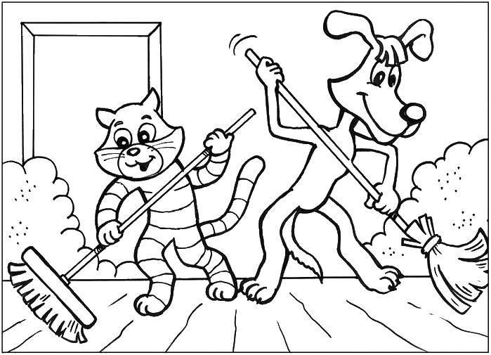 Раскраска Кот матроскин , пес шарик подметают дом. Скачать кот Матроскин , пес Шарик и дядя Федор.  Распечатать ,раскраски простоквашино,