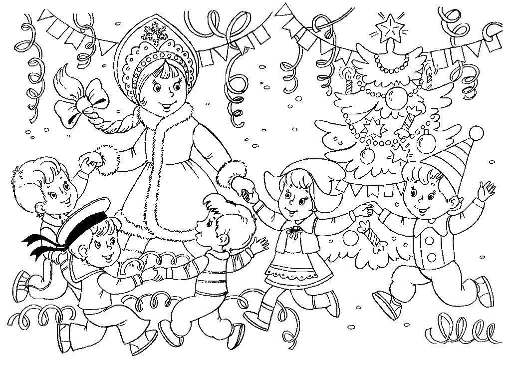 Раскраска Новогодний карнавал Скачать Новый Год, ёлка, подарки, игрушки, дети, веселье, праздник.  Распечатать ,новый год,