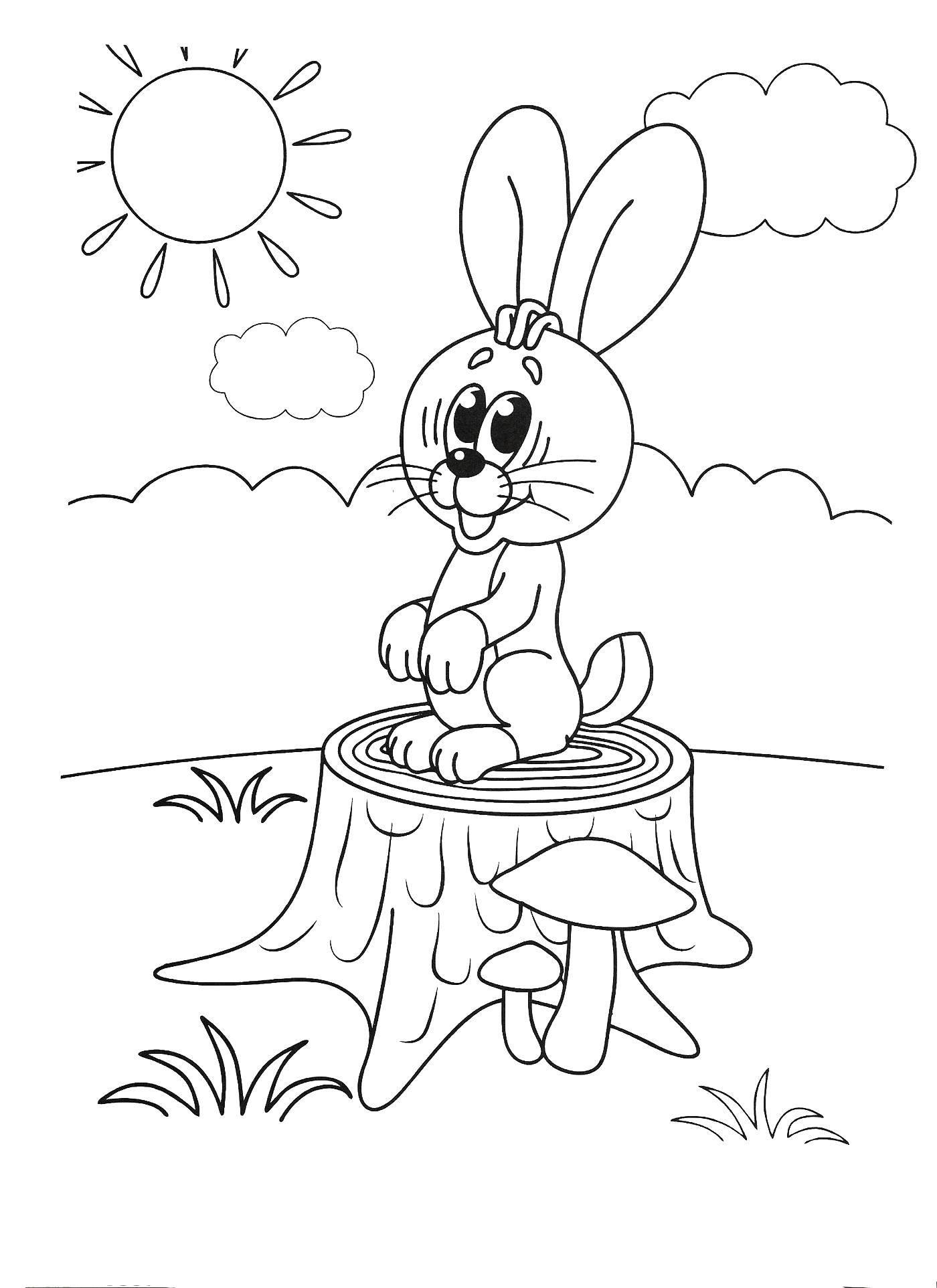 Раскраска Зайка на пенёчке Скачать Животные, зайчик.  Распечатать ,раскраски для маленьких,
