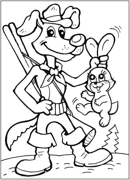 Раскраска пес шарик поймал зайчика. Скачать пес Шарик.  Распечатать ,раскраски простоквашино,