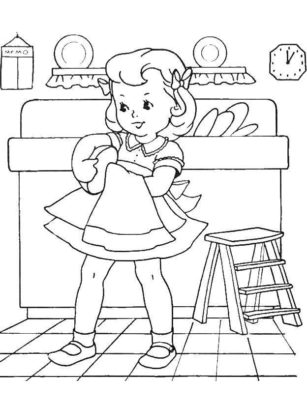 Раскраска Девочка моет посуду Скачать девочка.  Распечатать ,посуда,