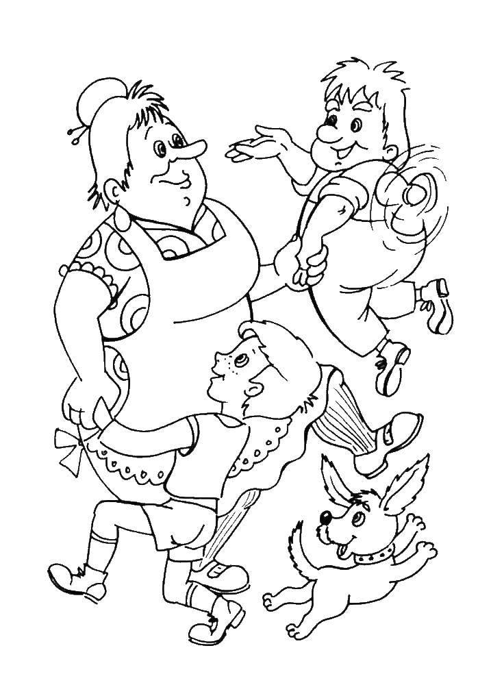 Раскраска Фрокен бок и малыш с карлсоном танцуют Скачать карлсон, малыш.  Распечатать ,раскраски карлсон,