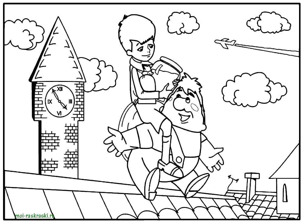 Раскраска Карлсон и малыш играют на крыше Скачать карлсон, малыш.  Распечатать ,раскраски карлсон,