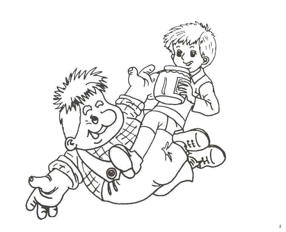 Раскраска Карлсон и малыш играют Скачать карлсон, малыш.  Распечатать ,раскраски карлсон,