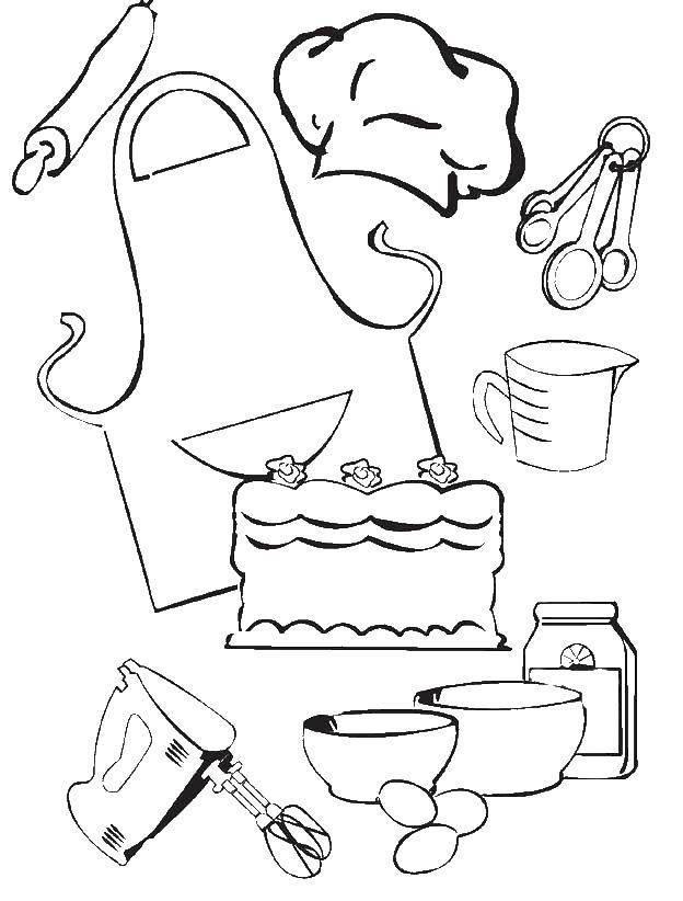 Раскраска Кухонные принадлежоности Скачать миска, миксер.  Распечатать ,посуда,