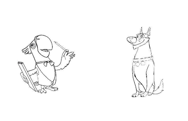 Раскраска Попугай и собака Скачать ,Попугай, собака,.  Распечатать