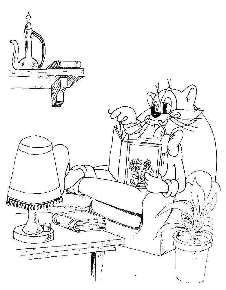 Раскраска Кот леопольд читает книгу Скачать Кот, леопольд.  Распечатать ,раскраски кот леопольд,