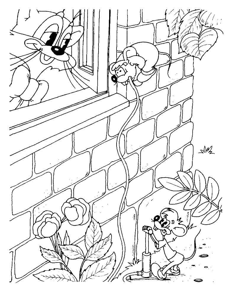 Раскраска Кот леопольд и мыши Скачать Кот, леопольд.  Распечатать ,раскраски кот леопольд,