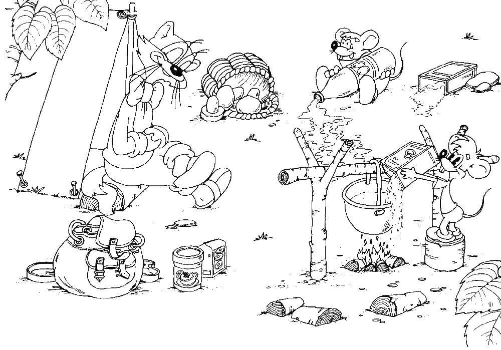 Раскраска Кот леопольд на отдыхе Скачать Кот, леопольд.  Распечатать ,раскраски кот леопольд,