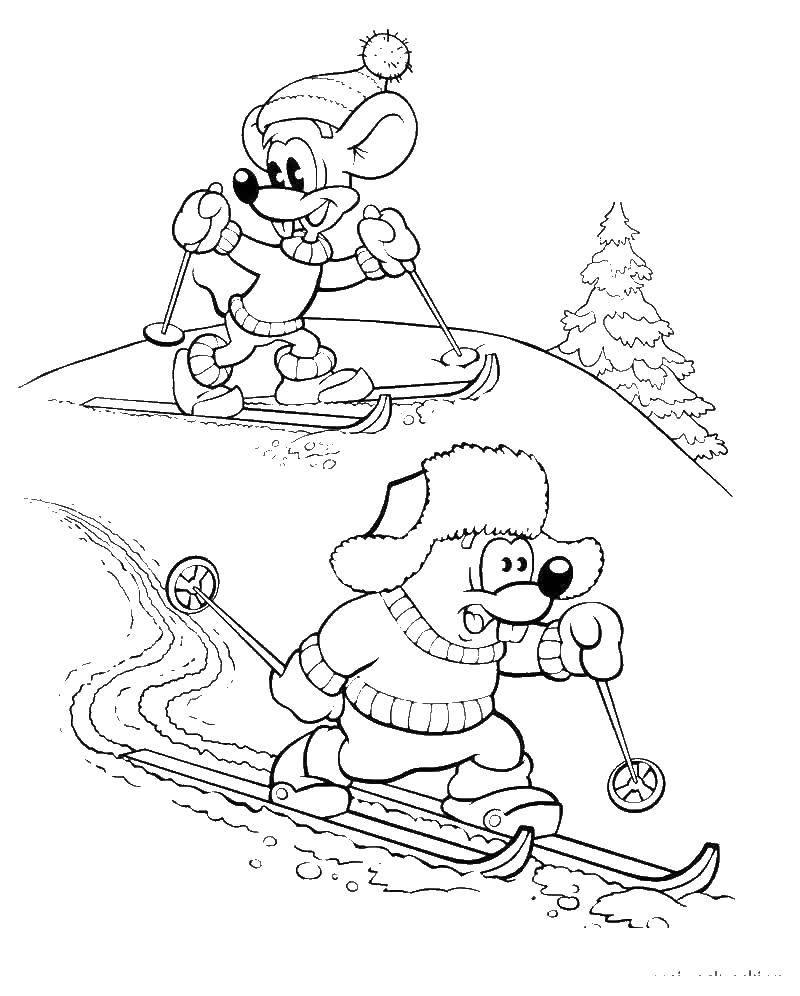 Раскраска Мыши катаютжся на лыжах Скачать мыши, кот, леопольд.  Распечатать ,раскраски кот леопольд,