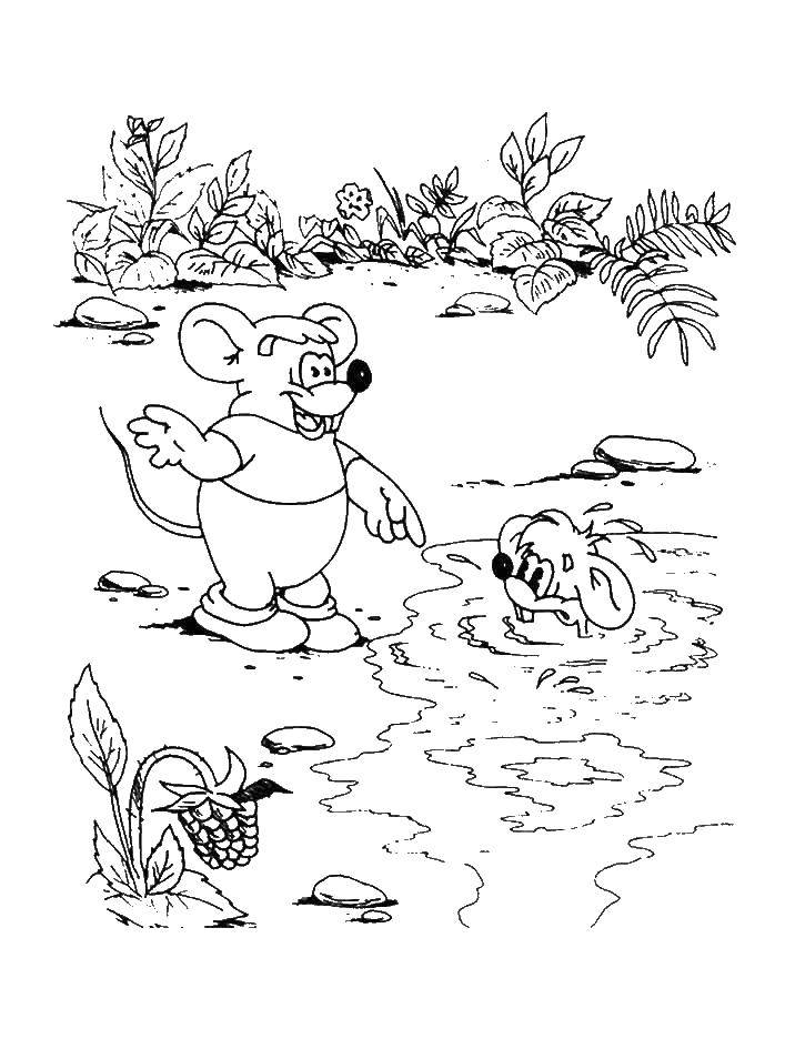 Раскраска Мыши купаются Скачать мыши, кот, леопольд.  Распечатать ,раскраски кот леопольд,
