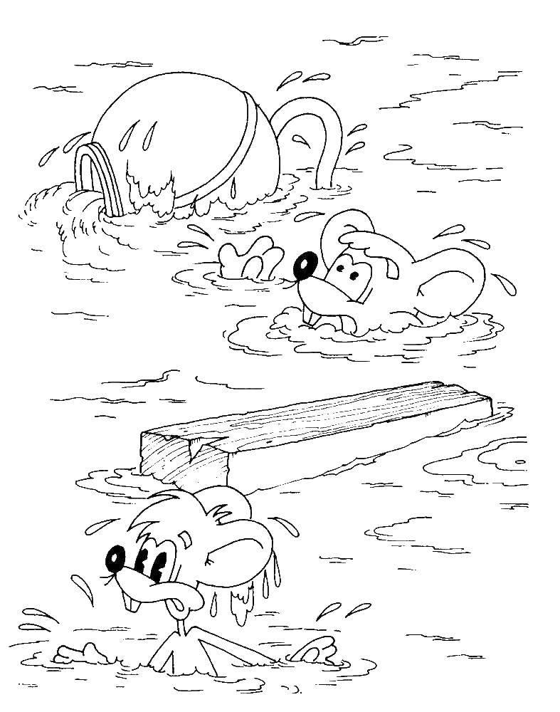 Раскраска Мыши тонут Скачать Кот, леопольд, мыши.  Распечатать ,раскраски кот леопольд,