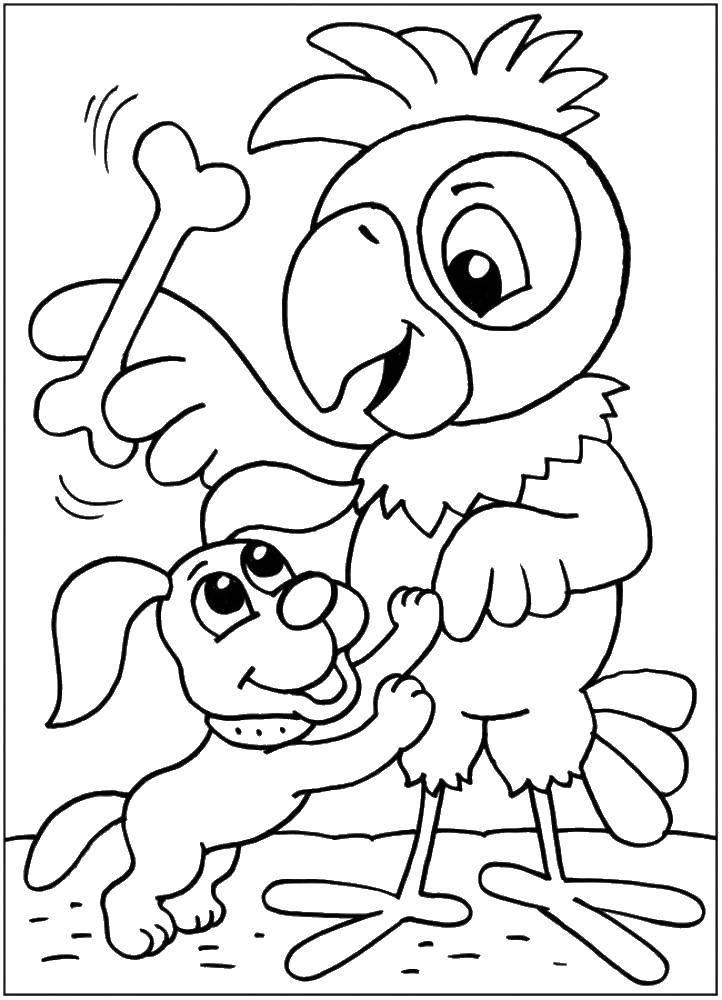 Раскраска Попугай кеша и щенок Скачать Персонаж из мультфильма, Попугай Кеша.  Распечатать ,раскраски попугай кеша,