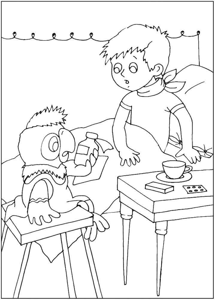 Раскраска Попугай кеша лечит мальчиков Скачать Персонаж из мультфильма, Попугай Кеша.  Распечатать ,раскраски попугай кеша,
