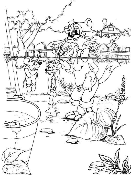 Раскраска Кот леопольд сушит мышат Скачать Персонаж из мультфильма, Кот Леопольд, мышки.  Распечатать ,раскраски кот леопольд,