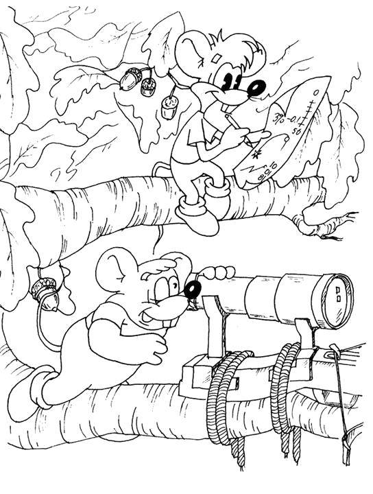 Раскраска Мышата из кота леопольда строят пакость Скачать Персонаж из мультфильма, Кот Леопольд, мышки.  Распечатать ,раскраски кот леопольд,
