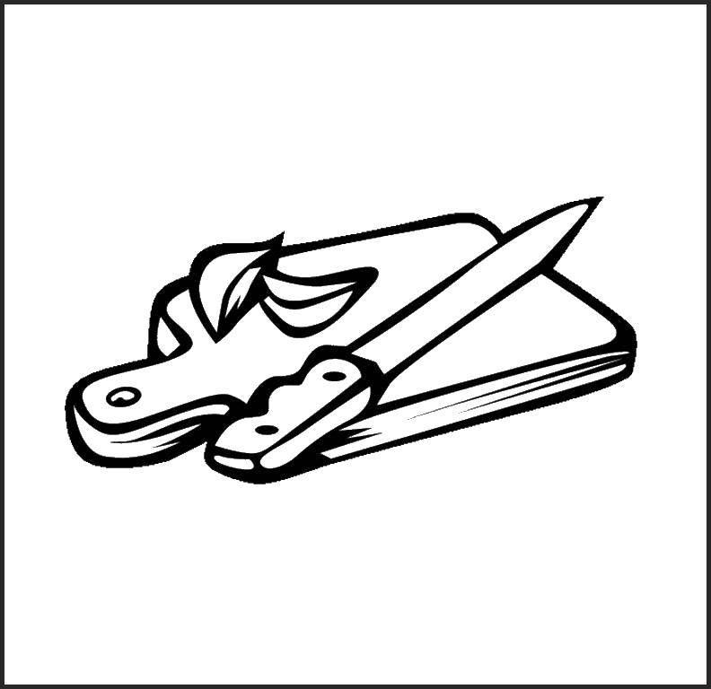 раскраски раскраска разделочная доска с ножом скачать