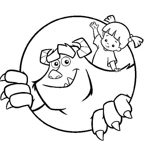 Online coloring pages monster, Coloring page Sully and Boo coloring ...
