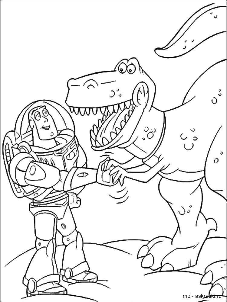 Раскраска Базз лайтер и динозавр рекс Скачать ,Базз Лайтер, игрушки,.  Распечатать